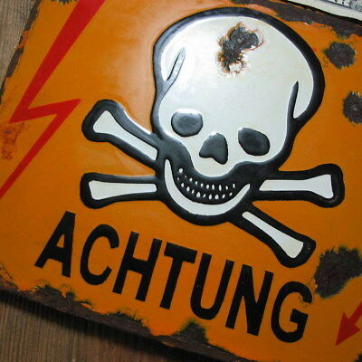 100% ORIGINAL - Porcelain Sign 1939-1945, WWII, Danger, Skull & Crossbones No 40