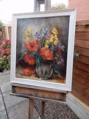 REALLY old PAINTING oil poppies iris  Flowers