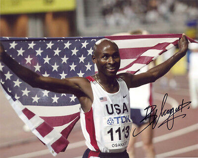 Bernard Lagat, USA, Kenya, Olympics track legend, signed 10x8 inch photo. COA.