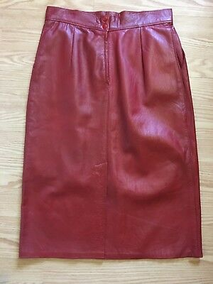 Vintage Leather Skirt 1980's Red High Waisted
