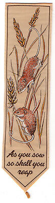 Vintage SILK Bookmark HARVEST MICE + AS YOU SOW SO SHALL YOU REAP