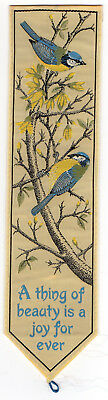 Vintage SILK Bookmark BLUETITS + A THING OF BEAUTY