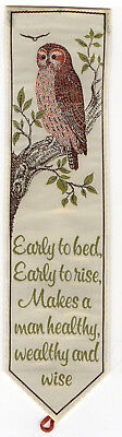 Vintage SILK Bookmark OWL + EARLY TO BED EARLY TO RISE