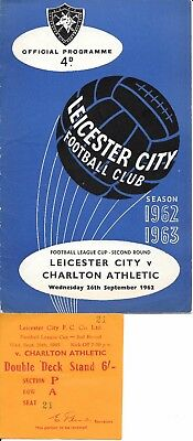 Ticket & programme Leicester City v Charlton Athletic League Cup 1962/63