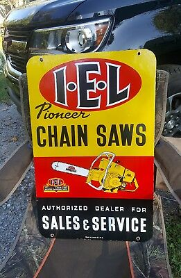 Double sided I.E.L PIONEER CHAIN SAWS porcelain sign vintage chainsaw dealer