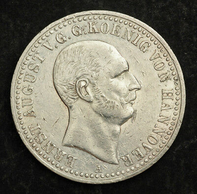 """1839, Hannover, Ernest August I. Silver """"Mining"""" Thaler Coin. 1-Year Type!"""