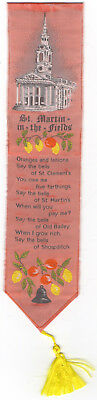 Vintage SILK Bookmark ST. MARTIN IN THE FIELDS CHURCH + ORANGES AND LEMONS Rhyme