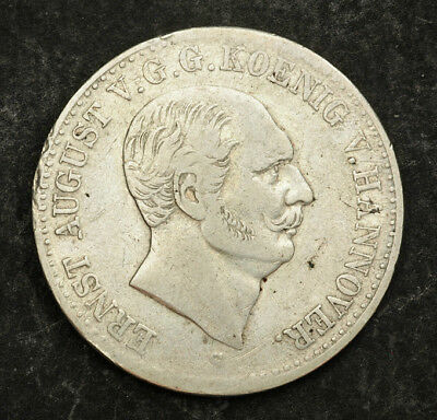 1839, Kingdom of Hannover, Ernest August I. Beautiful Silver Thaler Coin. VF