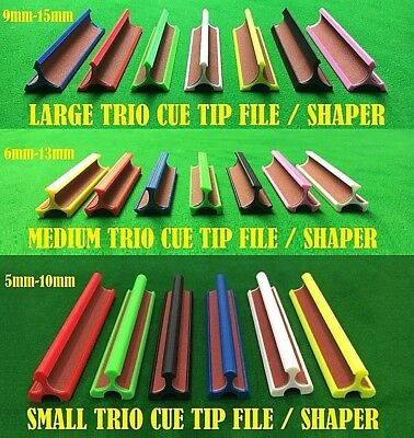 New Trio Tip Shaper / File in 3 Sizes & Colours for Snooker / Pool / Larger Tips