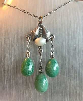 Vintage silver pearl carved jade arts and crafts pendant necklace