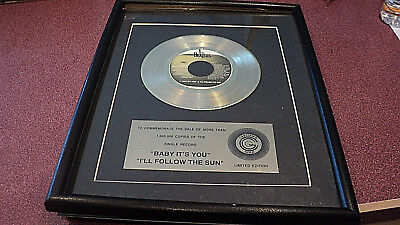 Beatles Baby It's You I'll Follow The Suns 45 1 Million Sold Framed Award Placq