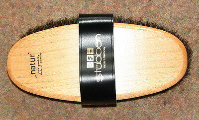 STUBBEN Luxury NATUR Wooden Pig Bristles Grooming Body Brush Leather Strap NEW