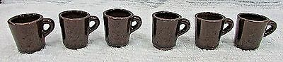 """Set Six Old Brown Ceramic Clay Pottery Miniature 1-3/4"""" Tall Mugs Cups FREE S/H"""