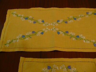 Vintage Hand Embroidered Linen Table Runner & 3 Small Mats