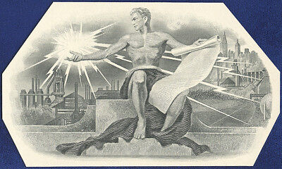 AMERICAN BANK NOTE Co. ENGRAVING: 163c ELECTRIC POWER