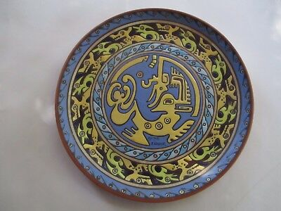Vintage ECUADOR Hand Painted Pottery Charger Plate Signed by the artist