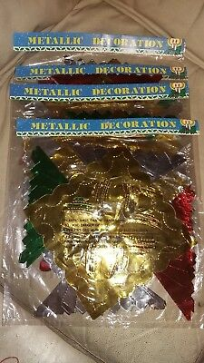 4 Vintage Unused Sealed Christmas Foil Hanging Ceiling Decorations Multi Colour