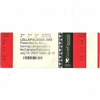 AUDIOSLAVE & JANES ADDICTION Concert Ticket Stub COLUMBUS 7/13/03 LOLLAPALOOZA
