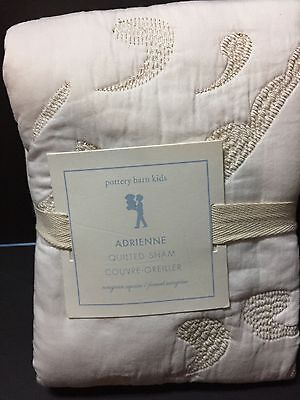 Pottery Barn Kids Adrienne Embroidered EURO QUILT-ed SHAM Medallion Ivory Bed NW
