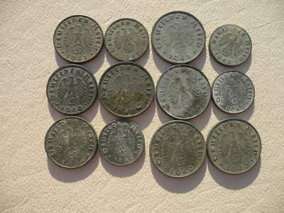 Lot of 12 Nazi Third Reich Germany Coins