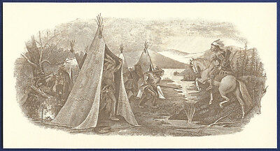 AMERICAN BANK NOTE Co. ENGRAVING: INDIANS OFF TO HUNT 48