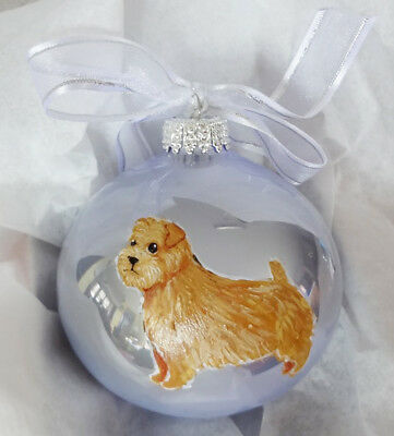 Norfolk Terrier Dog Hand Painted Glass Christmas Ornament - with Name