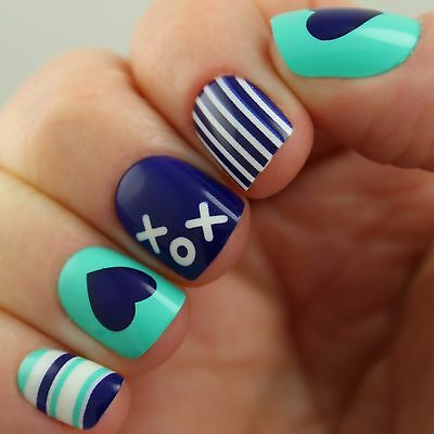 PRETTY WOMAN* 24 Glue/Press-On Nails TURQUOISE HEARTS+STRIPES Square ULTRA SHORT