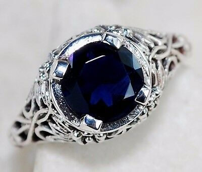 2CT Blue Sapphire 925 Solid Sterling Silver Art Deco Filigree Ring jewelry Sz 6