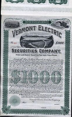 $1000 Vermont Electric Securities Co Gold Bond, 1902, Unissued With 60 Coupons