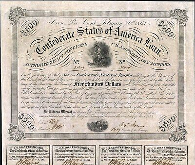 $500 Confederate States Of America Loan Bond, 1863 With 4 Coupons Mint Condition