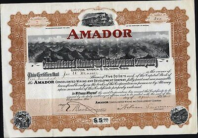 Amador Consolidated Mining And Development Co, Territory Of Az, 1904, Uncancelle