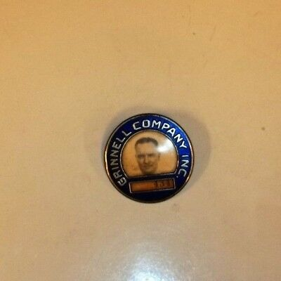 Vintage,1950's,Grinnell Conpany,Obsolete,Factory,Name,Badge,With,Photo,VG Cond.