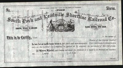 South Park And Leadville Shortline Railroad Co, Co, 188-, Unissued, Crisp Stock