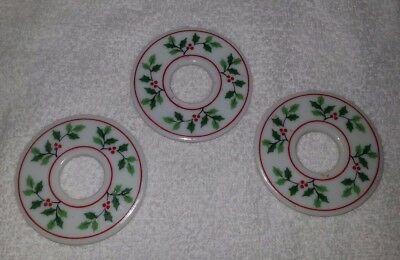 Vintage Lot of 3 Mary Quant Christmas Candle Drip Rings-Made in Japan