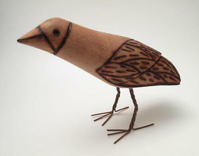 Vintage Australian Aboriginal Hand Carved Pokerwork Bird Sculpture Wire Legs