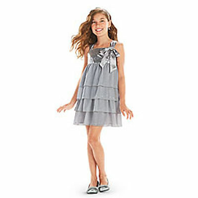 American Girl Silver Shimmer Dress for Girls Size 14 NEW