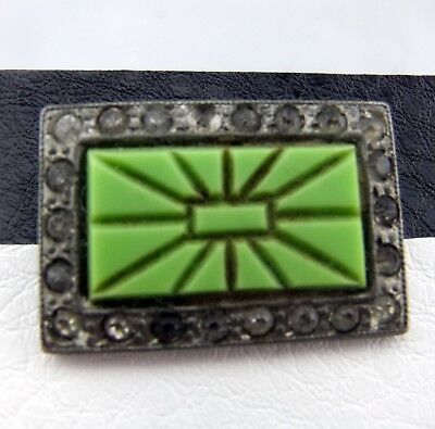 Antique Art Deco Line Green Carved Stone Paste Crystal C Clasp Square Pin