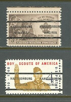Harrisonburg VA 237 on two Boy Scout issues Scott 995 and 1145, great pair