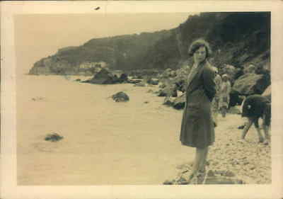 Torquay 1931 Girl On Beach Real Original Photograph Photo 1930's Social History