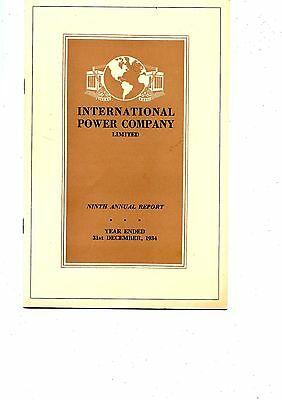Old annual report INTERNATIONAL POWER COMPANY limited 1934