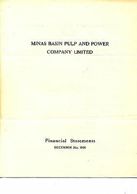 Old annual report Minas Basin Pulp and Power Co. Ltd.  1936