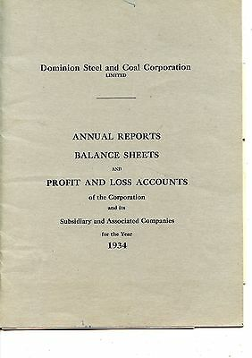 Old annual report DOMINION STEEL AND COAL CORPORATION LTD. 1934
