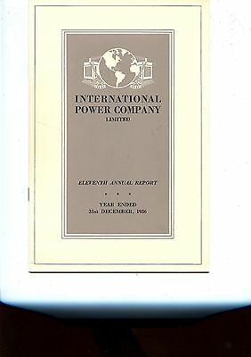 Old annual report INTERNATIONAL POWER COMPANY limited 1936