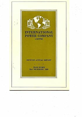 Old annual report INTERNATIONAL POWER COMPANY limited 1932