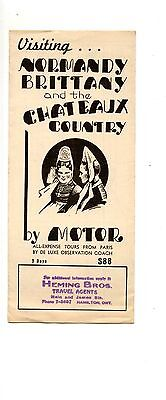 Old travel pamphlet NORMANDY BRITTANY CHATEAUX COUNTRY tour HEMING BRos.