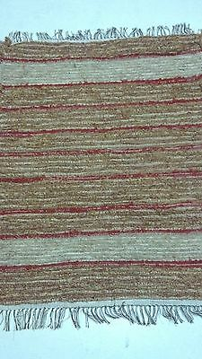 Amish Loom Rug Red and Rust with White Brown Fringe 41 Inch Rectangle