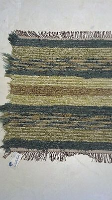 Amish Made Loom Rug Blue-Green, Green Brown White Brown Fringe 34 Inch Rectangle