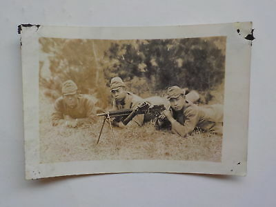 WWII Japanese Photo Soldiers Machine Gun Photograph WW2 Japan VTG Military Army