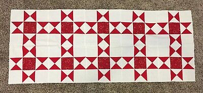 Unfinished Quilt Block Top / Table Runner Red & White Cotton Fabric