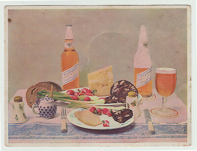Henry Weinhard Columbia Beer Ad Card c. 1915 Oversized Portland OR